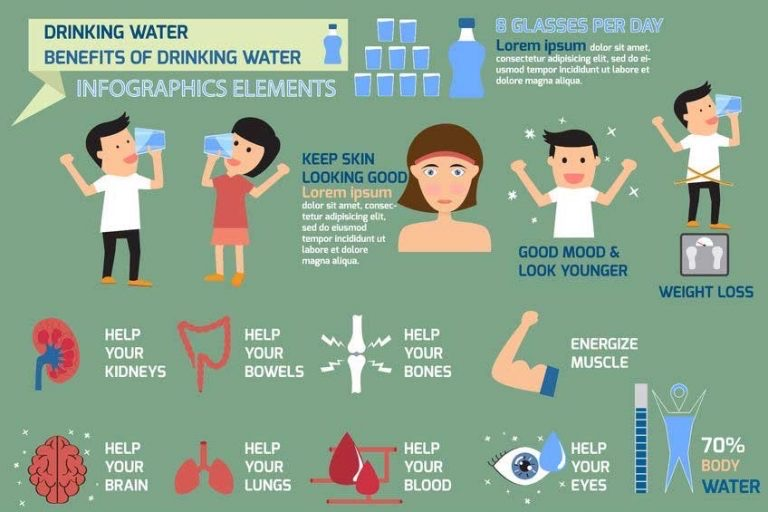 Inforgrahic illustrates benefits of drinking water. Icon showing that it can help your kidneys and supports your brain and bones.
