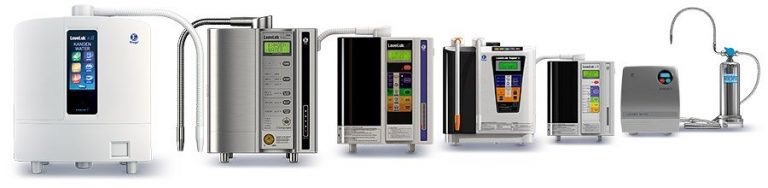 Photo with a range of water ionizers from the manufacturer Enagic producing Kangen water.