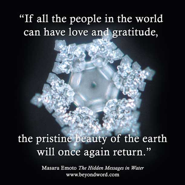 Masaru Emoto water freezes into crystals.