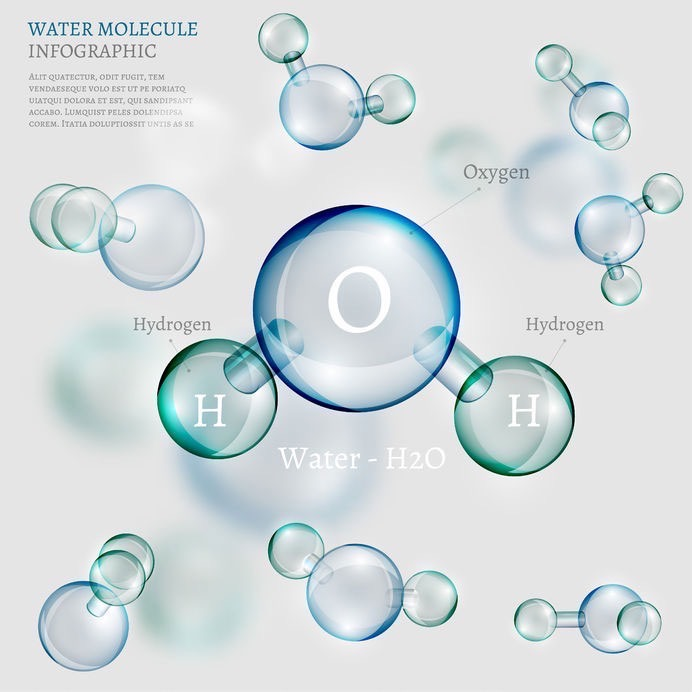 Water Molecule Infographic. transparent. Hydrogen and Oxygen.