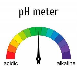 ph meter draft with a pointer to a green field. Semi-circle shows red, acidic to purple, alkaline.