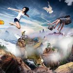 Photo montage of mountains, sky, pigeon, and people with sports activities like mountain biking, skateboard, and paragliding.