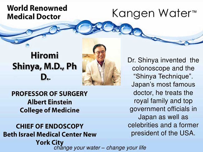 A picture with lots of text about Hiromi Shinya, M.D., Ph.D. Water drops on top of it.